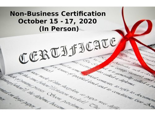 Non Business Certification October 15 17 2